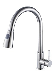 Contemporary Deck Mount Stainless Steel Nickel Brushed Pull-out Rotatable Spout with  Ceramic Valve Single Handle One Hole Kitchen Faucet