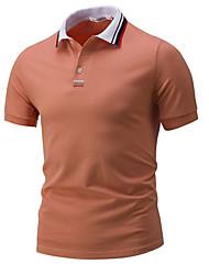 Для мужчин На каждый день Футболка Рубашечный воротник,Простое С принтом С короткими рукавами,Хлопок