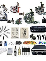 Complete Tattoo Kit 4  Machines DDragon Dual Digital LED Power Supply  Liner & Shader