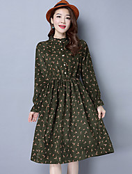 Women's Casual/Daily Simple Chiffon Dress,Floral Shirt Collar Above Knee ¾ Sleeve Rayon Summer Low Rise Micro-elastic Medium