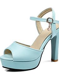 Damen-Sandalen-Lässig-Kunstleder-Blockabsatz-Club-Schuhe-Weiß Blau Rosa