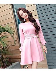 Primavera mulheres nova camurça de manga comprida vestido maré versão coreana de fino fino bottoming uma palavra grupo primavera 2017