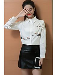 Sign 2017 spring models art Fan solid wild female loose long-sleeved shirt