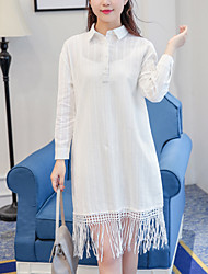 2017 spring new literary small fresh cotton jacquard fringed lapel long-sleeved dress shirt solid color suspenders +