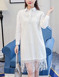 2017 printemps nouveau littéraire petit coton coton jacquard bordé robe à manches longues robe à manches longues +