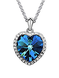 Women's Pendant Necklaces Sapphire Crystal Heart Platinum Plated Austria Crystal Love European Fashion Dark Blue Jewelry ForWedding Party