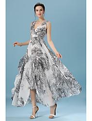 Grande v-pescoço cintura elástica split skirt korea colocar em um vestido de chiffon grande modelos de explosão abstrata