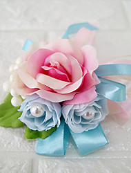 Wedding Flowers Free-form Roses Boutonnieres Wedding Party/ Evening Multi Color Satin Imitation Pearl