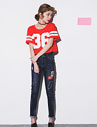 Personality hole jeans female harem pants feet loose summer cattle child beggars patch bf trousers