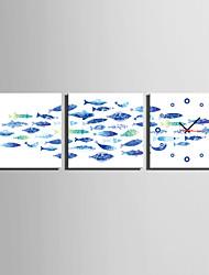 MINI SIZE E-HOME The Blue Fish Clock in Canvas 3pcs