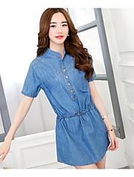 signe dans les modèles d'explosion printemps 2017 grands chantiers jupe denim robe de denim vintage mode