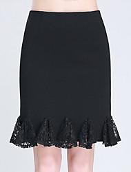 Grandes Tailles Jupes,Trompette/Sirène Couleur Pleine Dentelle Plissé Effets superposés,Taille Haute Sexy Mignon GenouDécontracté /