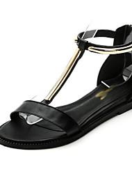 Белый Черный-Для женщин-Повседневный-ПолиуретанУдобная обувь-Сандалии