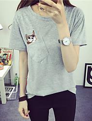 Sinal 2017 verão novo de mangas curtas t-shirt bolso bordado ponto gato solto
