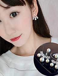 Stud Earrings Pearl AAA Cubic Zirconia Unique Design Pearl Classic Zircon Chrome Flower Jewelry ForWedding Party Special Occasion