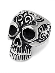 Vintage Embossed Men's Skull Ring Stainless Steel Designer Jewelry Rock Punk Biker Ring Black Silver Make Old Technology Amulet