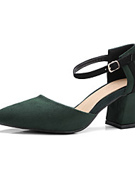Mujer-Tacón Robusto-Zapatos del club-Tacones-Oficina y Trabajo Vestido Informal-Vellón-Negro Gris Verde Borgoña