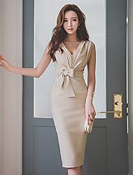 2017 Korean summer paragraph sleeveless dress OL temperament Slim package hip skirt dress ladies dress
