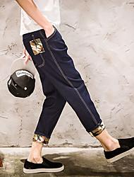 Harlan denim meia-calça nova tendência de homens jovens japoneses retro cor calças soltas