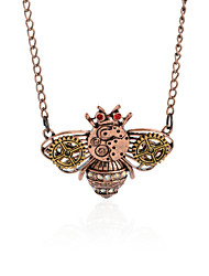 Vintage Animal Pendant Necklace Gear Charm Steampunk Necklaces-Brass Bee