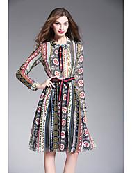 signe # 2017 printemps nouvelle impression vent ethnique rétro poupée robe mince sangle rayé col
