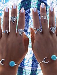 6pcs Elephant Ring Animal Shape Basic Design Multi-ways Wear Wedding Halloween Daily Casual Jewelry Alloy Midi Rings 1setOne Size Silver