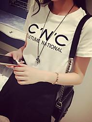 Rua de moda carta de manga curta t-shirt mulheres