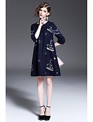Women's Casual/Daily Beach Vintage Simple Sheath Dress,Polka Dot Round Neck Asymmetrical ½ Length Sleeve Rayon Acrylic Spring FallLow