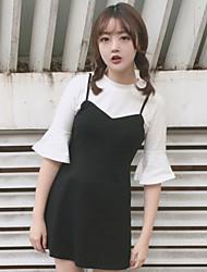 Signer un nouvel institut coréen de l'éolien petit faux frais faux deux cinquième robe de soie plus mince