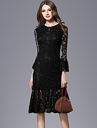 Women's Formal Party/Cocktail Sexy Trumpet/Mermaid Dress,Solid Round Neck Midi Long Sleeve Cotton Polyester Spring Summer Mid Rise