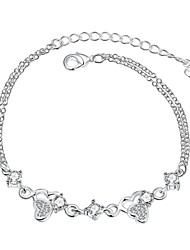 Exquisite Silver Plated Clear Crystal Sweet Heart Pendant Chain & Link Bracelets Jewellery for Women Accessiories