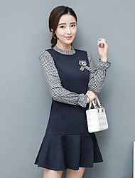 Spring and Autumn fashion style stitching bottoming fake two long-sleeved knit dress fishtail skirt in a type