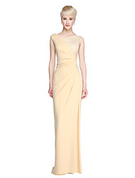 LAN TING BRIDE Floor-length Jewel Bridesmaid Dress - Furcal Sleeveless Lace Jersey
