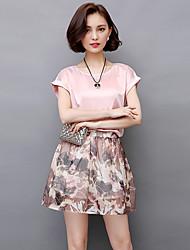2017 été nouveau coréenne manches courtes robe de mousseline imprimée en deux parties jupe costume jupe petite marée vent parfumé femme