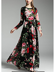 Rose print long-sleeved dress autumn ladies dress put on a large distribution Scarf