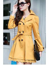 Signe hitz korean slim dentelle longue section de veste coupe-vent femme doux tempérament ol
