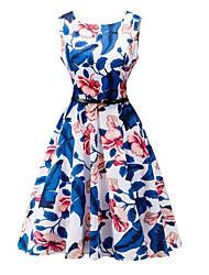 modèles d'explosion de style rétro hepburn eBay était mince taille mis sur une grande robe imprimée avec ceinture