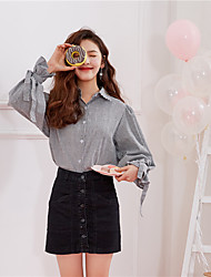 Sign 2017 spring new Korean version of the small fresh and lovely wild striped shirt with a bow tie