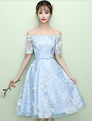 Tea-length Off-the-shoulder Bridesmaid Dress - Lace-up Short Sleeve Lace Tulle