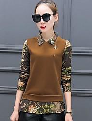 2016 neue Winter plus dicke koreanische Samt Version war dünn falsche zwei Pullover Bluse Kragen Langarmhemd Flut