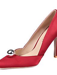 Feminino-Saltos-Sapatos clube-Salto Agulha-Branco Preto Vermelho Rosa claro Azul Real-Seda-Casamento Escritório & Trabalho Social Festas