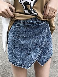 Signe 2017 nouvelles femmes&# 39; s denim shorts culottes jupes femmes faux deux shorts anti vides