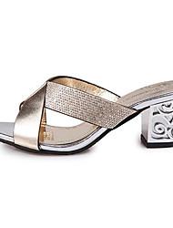 Damen-Sandalen-Kleid Lässig-PU-Blockabsatz-Komfort-Gold Silber Blau