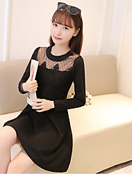 2017 spring new Women Korean ladies temperament Slim was thin long-sleeved long section of lace mesh connected