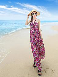 Women's Beach Loose Swing Dress,Floral Halter Maxi Sleeveless Silk Summer Mid Rise Micro-elastic Thin