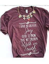 Damen Buchstabe Einfach Ausgehen Strand T-shirt,Rundhalsausschnitt Kurzarm Baumwolle