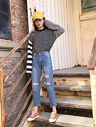 assinar minimalistas jeans reta casuais pés orifício de trepanação nove pontos calça jeans nett