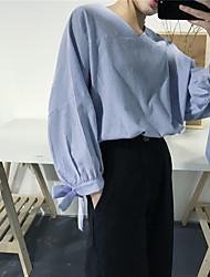 firmare arco camicia a righe con scollo a V femminile
