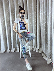 No European leg fashion personality Slim stretch jeans