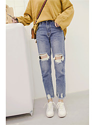 Signer 2017 korean loose knee hole jeans skinny waist pantyhose bordures latérales irrégulières
